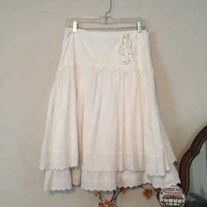 Lucy Paris Medium Boho Lace White midi skirt